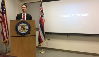 Hawaii Attorney General Doug Chin at a news conference in Honolulu announcing the state of Hawaii has filed a lawsuit challenging President Donald Trump's travel ban, February 3, 2017.