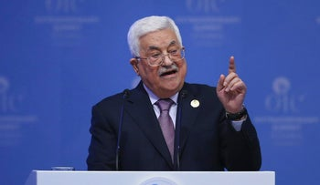 Palestinian President Mahmoud Abbas addresses the Organisation of Islamic Cooperation's Extraordinary Summit in Istanbul, Wednesday, Dec. 13, 2017.