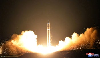 This Nov. 29, 2017, file image provided by the North Korean government show the launching of a Hwasong-15 missile.