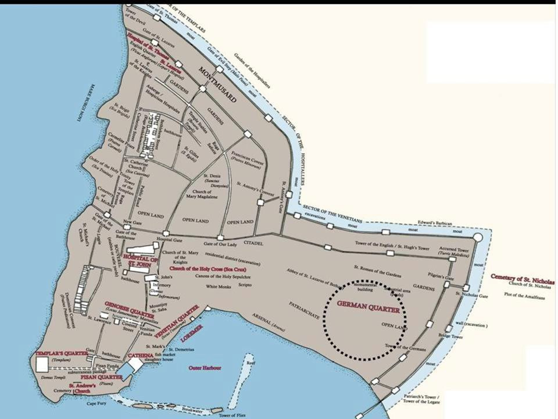 Map showing the boundaries of the crusader city and Teutonic Order quarters