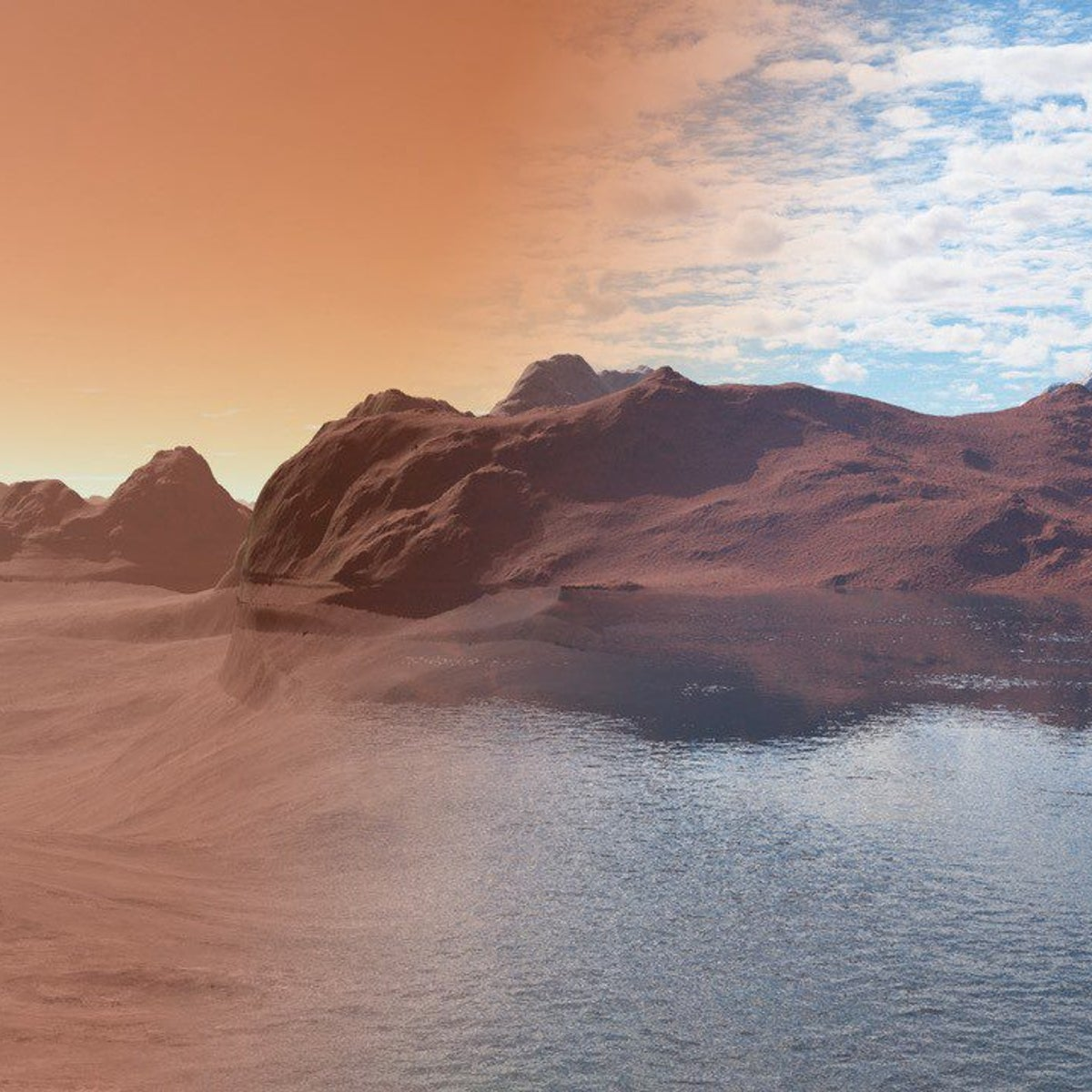 Modern Mars, dry and barren (left), compared with the same scene over 3.5 billion years ago (right), covered in water.