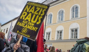 File photo: Protesters gathering outside Adolf Hitler's old house in Austria. April 18, 2015.