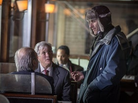 Joseph Cedar and Richard Gere during the filming of 'Norman.'