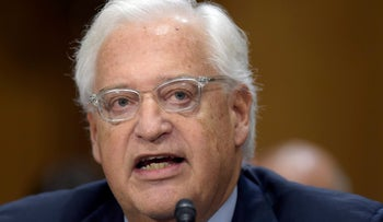 U.S. Ambassador-designate David Friedman testifies on Capitol Hill on February 16, 2017 at his confirmation hearing before the Senate Foreign Relations Committee.