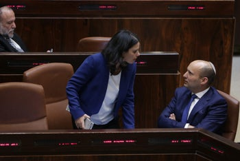 Ministers Ayelet Shaked and Naftali Bennett at the Knesset.