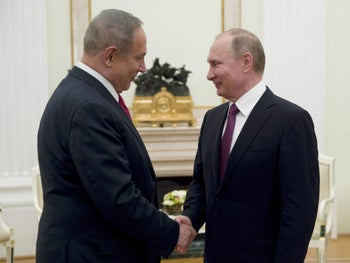 Russian President Vladimir Putin meets Prime Minister Benjamin Netanyahu in Moscow on March 9, 2017.