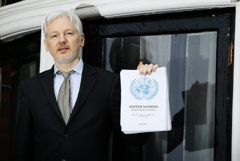 FILE - In this Feb. 5, 2016, file photo WikiLeaks founder Julian Assange speaks on the balcony of the Ecuadorean Embassy in London. President Barack Obamaג€™s decision to commute Chelsea Manningג€™s sentence quickly brought fresh attention to another figure involved in the Army leakerג€™s case: Julian Assange. In a tweet in early January 2017, Assangeג€™s anti-secrecy site WikiLeaks wrote, ג€œIf Obama grants Manning clemency Assange will agree to US extradition despite clear unconstitutionality of DoJ case.