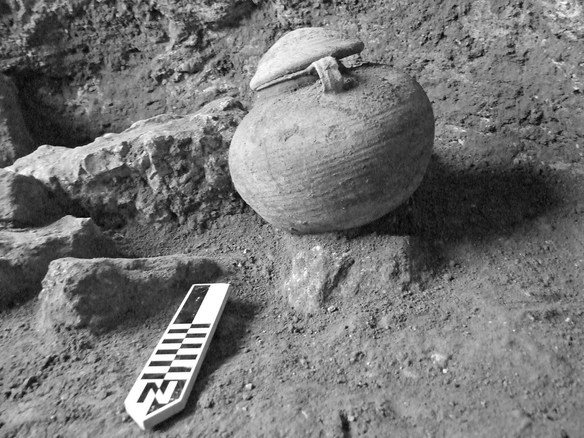 Roman cooking pot with the remains of a cremated Roman Legionary, found at the first base camp of Romans found in the East, by Tel Megiddo.