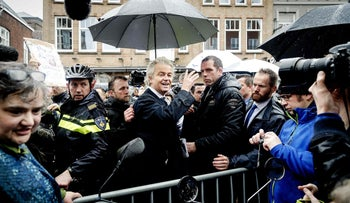 Dutch far-right leader Geert Wilders campaigning in Breda, Netherlands, March 8, 2017.