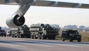 Russia's S-400 air defense missile systems at the Hmeimim airbase in the Syrian province of Latakia.