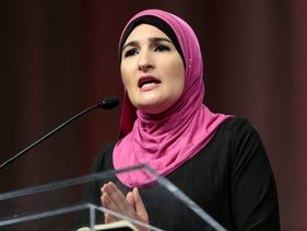 Linda Sarsour during the opening session of the three-day Women's Convention in Detroit, Michigan, October 27, 2017.