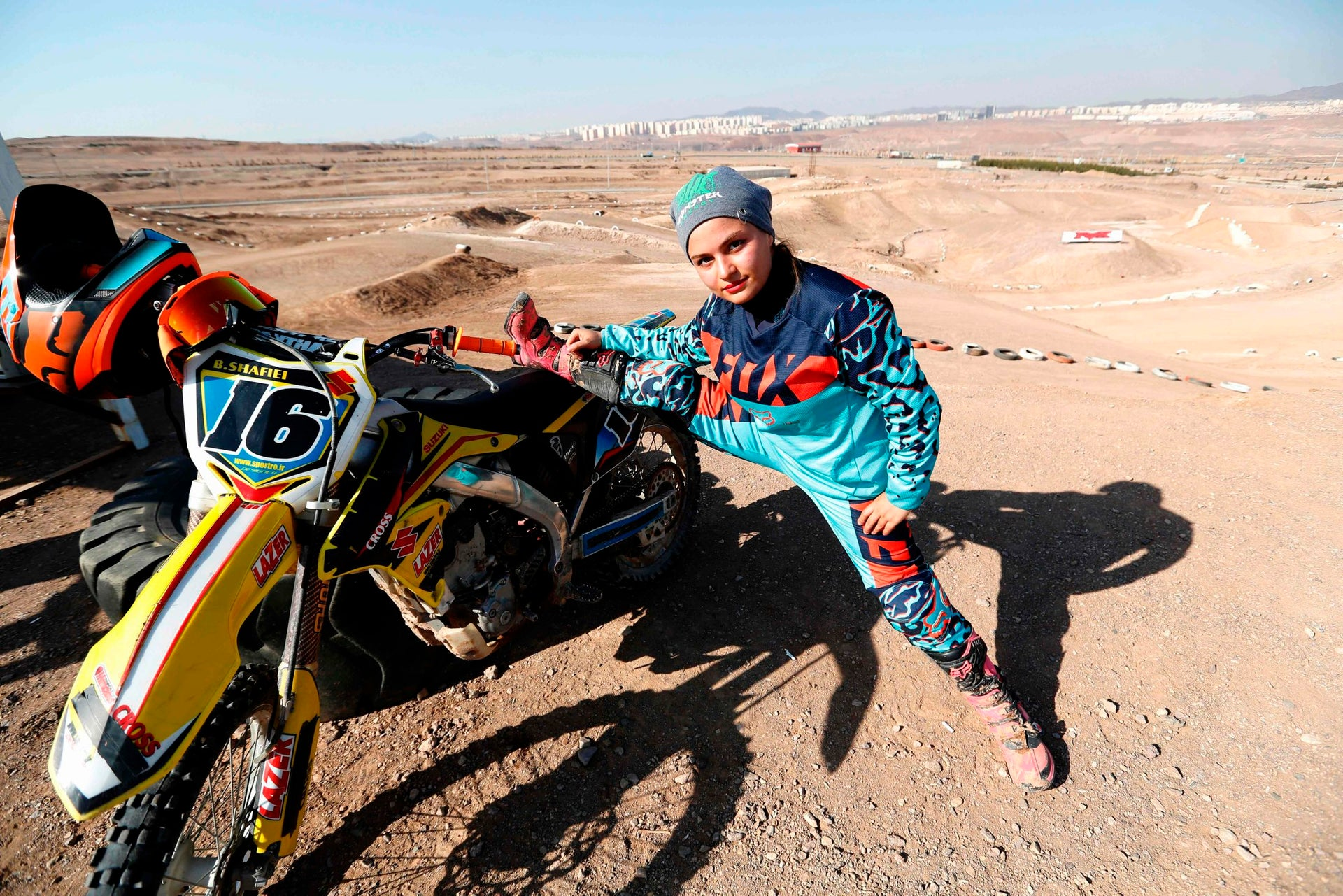 Iranian motorbike champion Behnaz Shafiei poses during a training session in Parand, southwest of Tehran, on February 27, 2017.