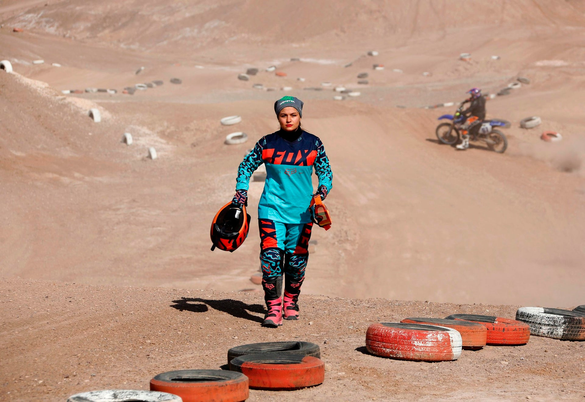 Iranian motorbike champion Behnaz Shafiei walks during a training session in Parand, southwest of Tehran, on February 27, 2017.