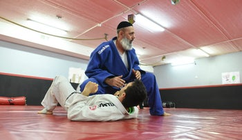 Ultra-Orthodox jiujitsu trainer Ilan Turgeman at his dojo in Nahariya.
