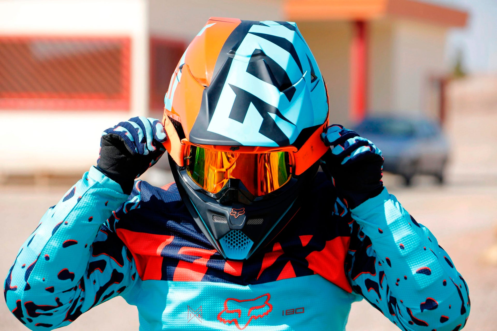 Iranian motorbike champion Behnaz Shafiei adjusts her helmet during a training session in Parand, southwest of Tehran, on February 27, 2017.