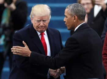 Obama and Trump at the swearing in of the 45th U.S. president, January 20, 2017.