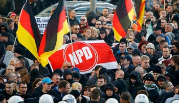 File photo: Supporters of the National Democratic Party demonstrate in Germany. January 9, 2016.