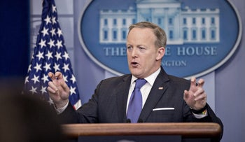 Sean Spicer, White House press secretary, speaks during a press briefing at the White House in Washington, D.C., U.S., on Monday, March 13, 2017.