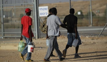 African asylum seekers at Israel's Saharonim detention center.