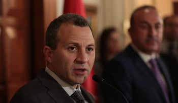 Lebanon's Foreign Minister Gebran Bassil at a press conference in Ankara, Turkey on November 16, 2017.