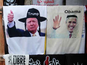 T-shirts depicting US President-elect Donald Trump with a hat worn by Orthodox Jews and locks, and former President Barack Obama wearing a traditional Arab headdress in Jerusalem's old city in January 2017.