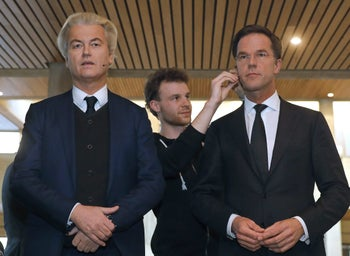 Front-runners Geert Wilders and Dutch Prime Minister Mark Rutte before a debate, Rotterdam, March 13, 2017.