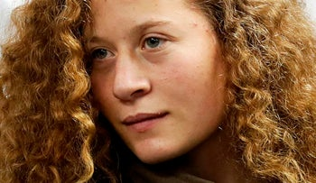Ahed Tamimi appears at a military court at the Israeli-run Ofer prison in the West Bank village of Betunia on December 28, 2017.