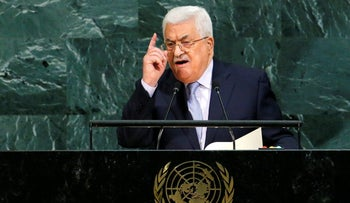 Palestinian President Mahmoud Abbas addresses the 72nd United Nations General Assembly at UN headquarters in New York, U.S., September 20, 2017.
