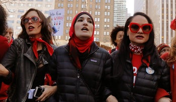 Linda Sarsour and other activists during a 'Day Without a Woman' march on International Women's Day in New York, U.S., March 8, 2017.