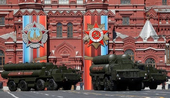 Russian army S-400 medium-range and long-range surface-to-air missile systems before the World War II anniversary in Moscow, Russia, May 7, 2017.