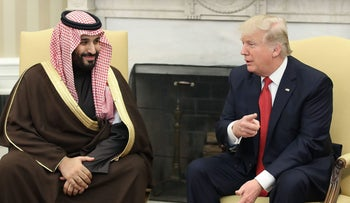 Trump and Mohammed bin Salman in the Oval Office of the White House in Washington, D.C., March 14, 2017.