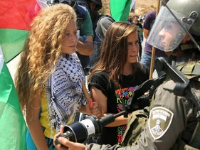 16 year-old Ahed al-Tamimi during a protest in Ramallah in September 2015. Tamimi is in custody after Israeli forces arrested her at home in Nabi Saleh in the northern West Bank for slapping an IDF soldier