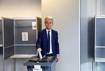 Geert Wilders votes in the general election in The Hague, Netherlands, March 15, 2017.