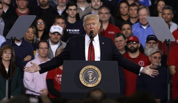 U.S. President Donald Trump speaks to auto workers at the American Center for Mobility March 15, 2017 in Ypsilanti, Michigan.
