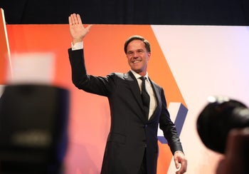 Dutch Prime Minister Mark Rutte waves to supporters in The Hague, Netherlands, on March 15, 2017.