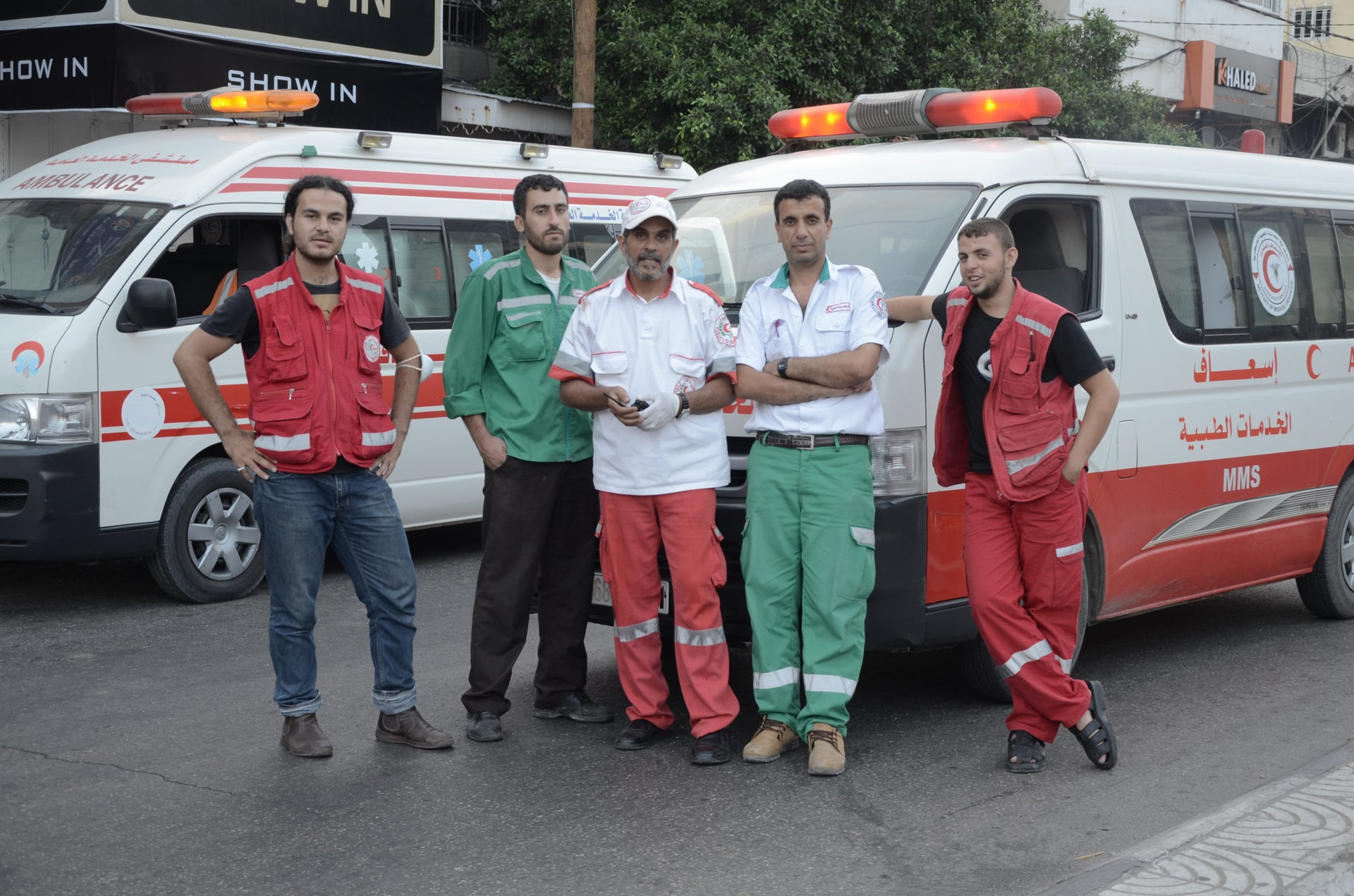 "A scene from the documentary film ""Ambulance,"" Mohamed Jabaly (L)."