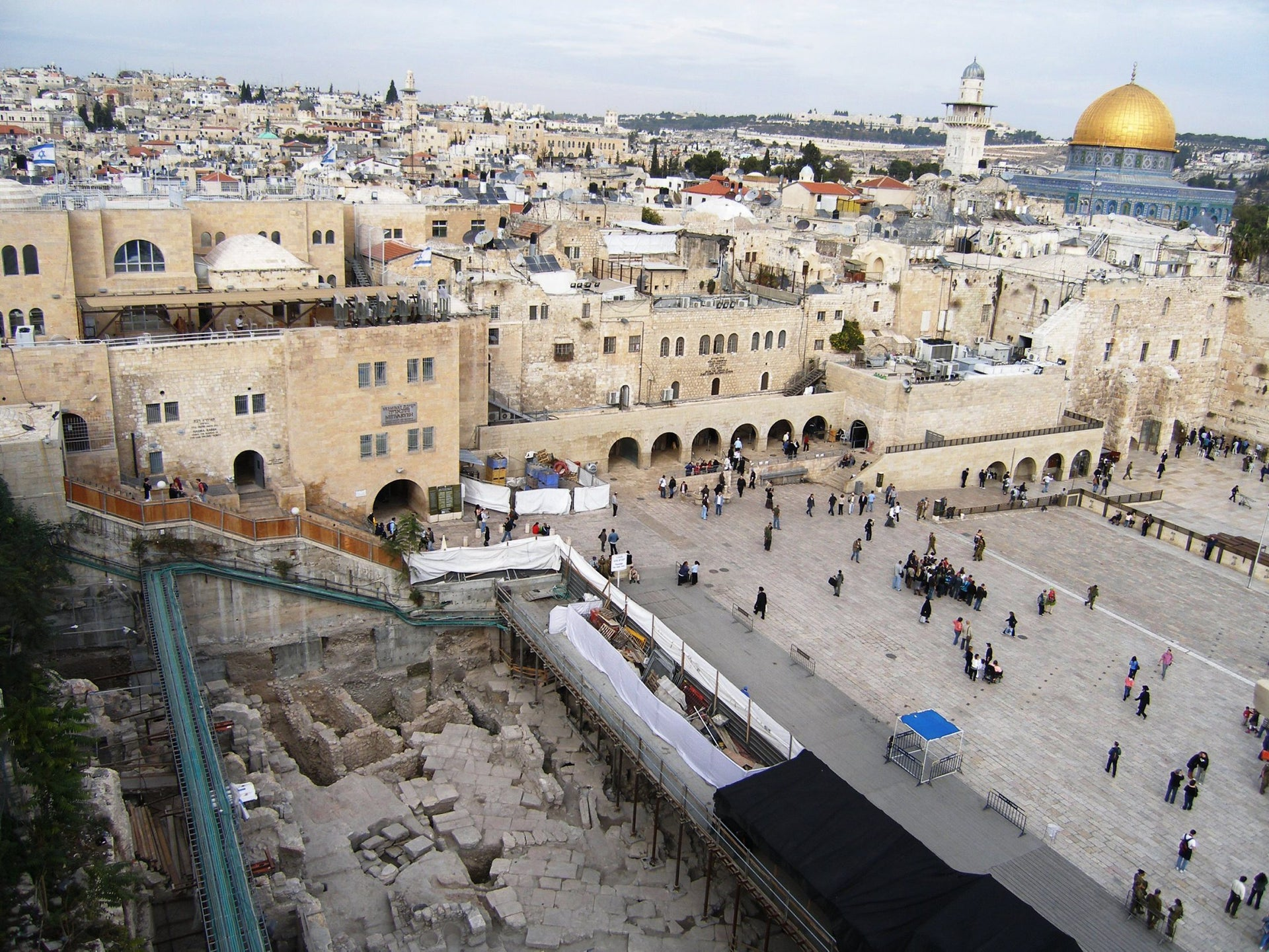 The excavation in the Western Wall plaza (left corner)