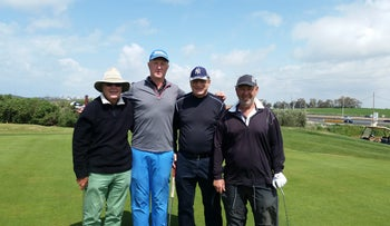 From left: Basil Katz, Chris Ward, Eliezer Shkedi and Moshe Nessis at Gaash Golf club.