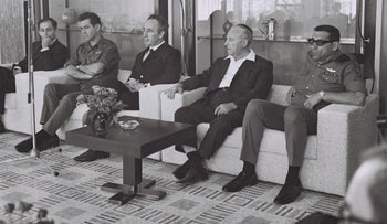 Police Minister Shlomo Hillel with David Elazar, Shimon Peres, Michael Hazani and Rehavam Ze'evi in 1972.