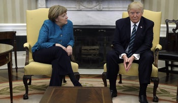 President Donald Trump meets with German Chancellor Angela Merkel in the Oval Office of the White House in Washington, March 17, 2017.