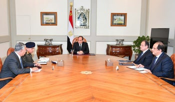 Egyptian President Sissi is seen during a meeting with government members on the attack in North Sinai, in Cairo, Egypt, November 24, 2017
