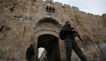 Israeli forces stand outside the gates of Jerusalem's Old City. 2017