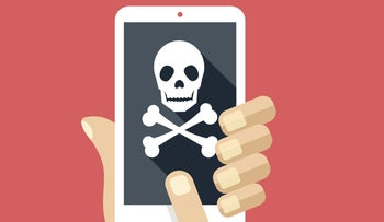 An illustration of a smartphone with skull