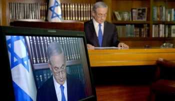 FILE PHOTO: Prime Minister Benjamin Netanyahu during a interview to CBS network at his office in Jerusalem in 2016.