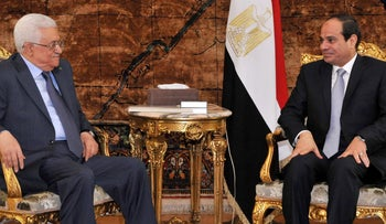 Palestinian President Mahmoud Abbas and Egyptian counterpart Abdel Fattah al-Sissi meet in 2014.