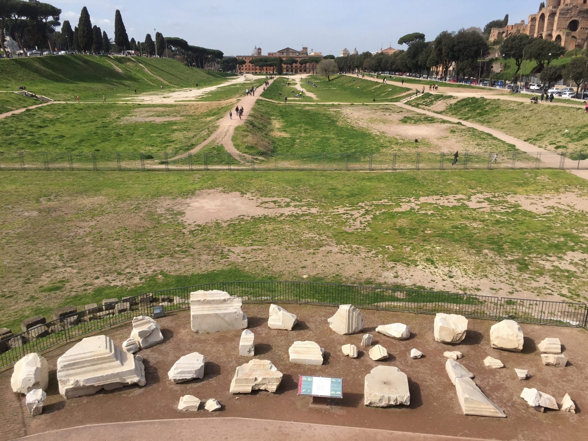 Fragments of the decoration of the Arch of Titus arranged in a display in the Circus Maximus in Rome.