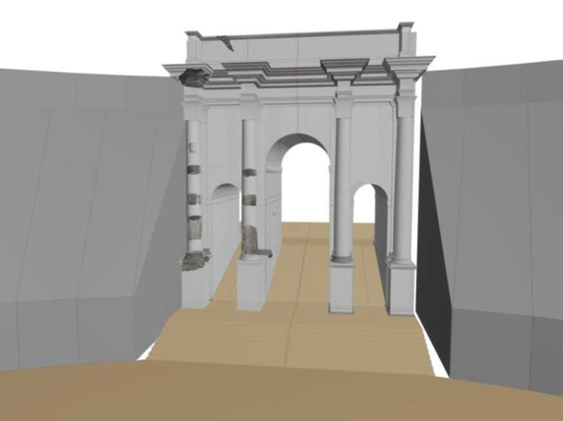 Simulation of the second Arch of Titus, which functioned as a monumental entrance to the Circus Maximus and was used in processions and military parades.