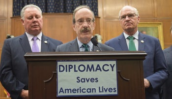 Rep. Eliot Engel at a news conference held by Democrats on the House Foreign Affairs Committee criticizing the Trump administration's proposed cuts, March 16, 2017.