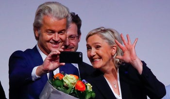 Netherlands' Part for Freedom leader Geet Wilders and France's National Front leader Marine Le Pen.