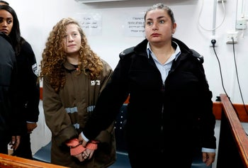 Sixteen-year-old Ahed Tamimi at Ofer military prison in the West Bank January 1, 2018
